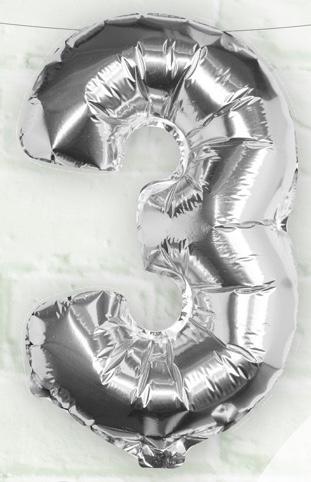 Foliový Balón - 3 - Strieborná (40cm)