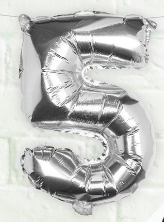 Foliový Balón - 5 - Strieborná (40cm)