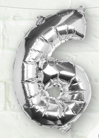 Foliový Balón - 6 - Strieborná (40cm)