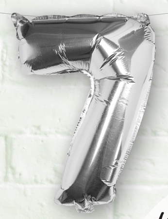 Foliový Balón - 7 - Strieborná (40cm)