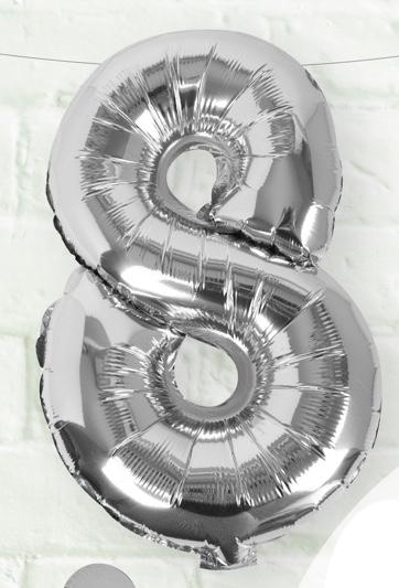 Foliový Balón - 8 - Strieborná (40cm)