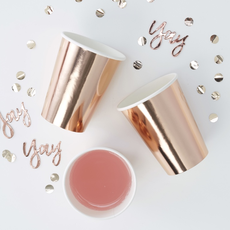 Foiled Paper Cups - Rose Gold - Pick & Mix (8pcs)