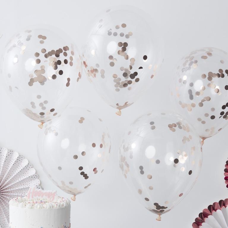 Konfetové Balóny - 30 cm - Ružovo Zlatá (5ks)