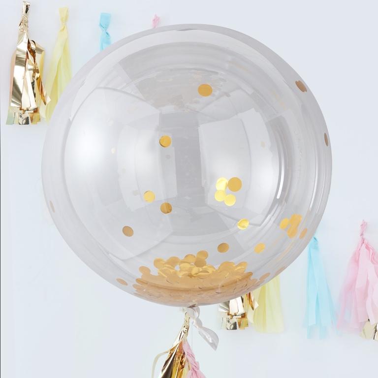 Konfetové Guľaté Balóny - 90 cm - Zlatá - Pick & Mix (3ks)