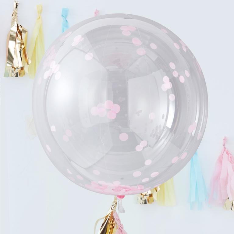 Konfetové Guľaté Balóny - 90 cm - Ružová - Pick & Mix (3ks)