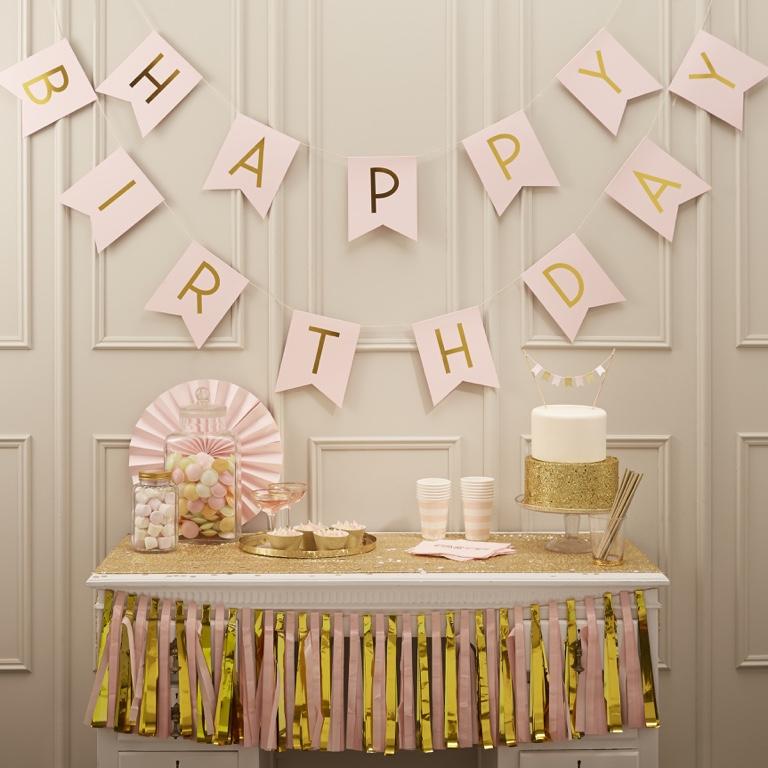 Girlanda - Happy Birthday - Ružová a Zlatá (2.5m)