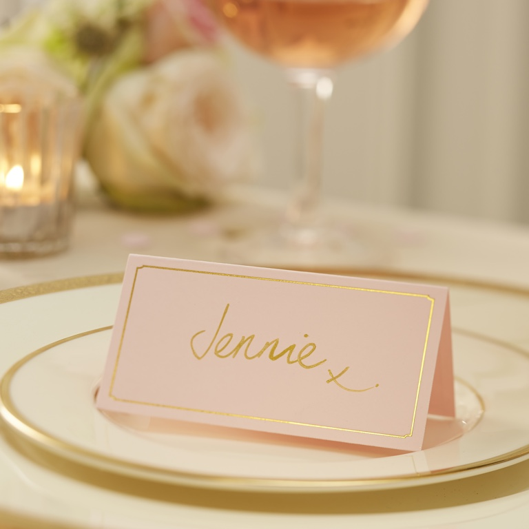 Menovky na stoly - Zlato a Ružová (10ks)