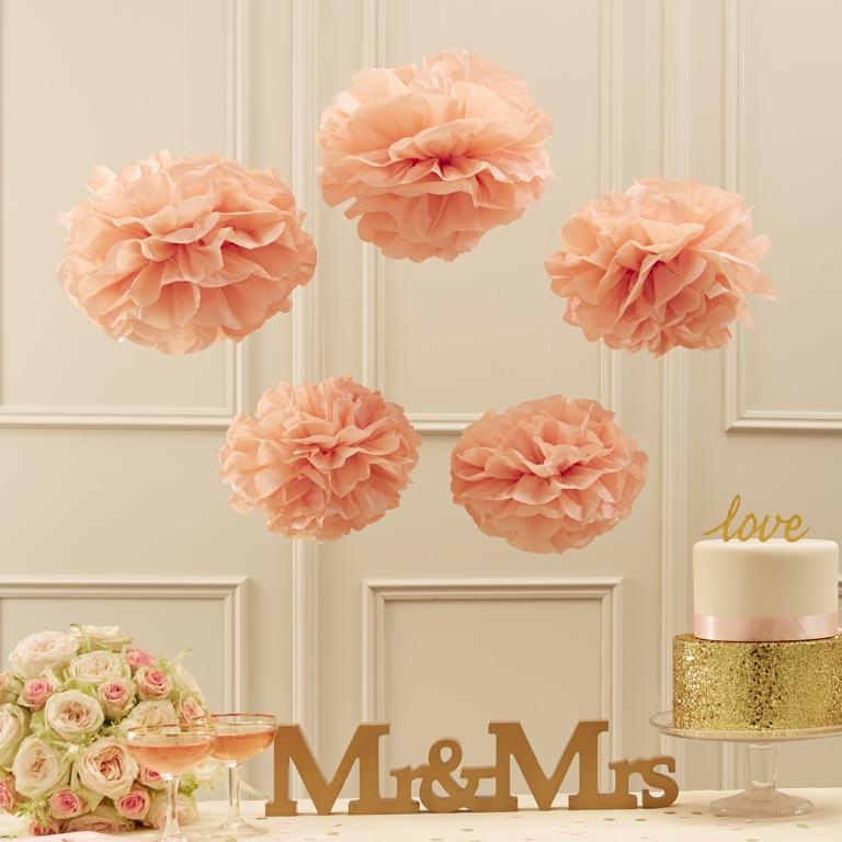 Papierové Pom-Pom-y - Pastelovo Ružová - Zlato a Ružová (5ks)
