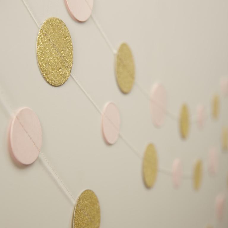 Girlanda - Zlaté a Ružové Kruhy - Zlato a Ružová (5m)