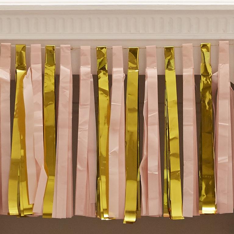 Strapcová Girlanda - Lesklá - Zlato a Ružová (2.5m)