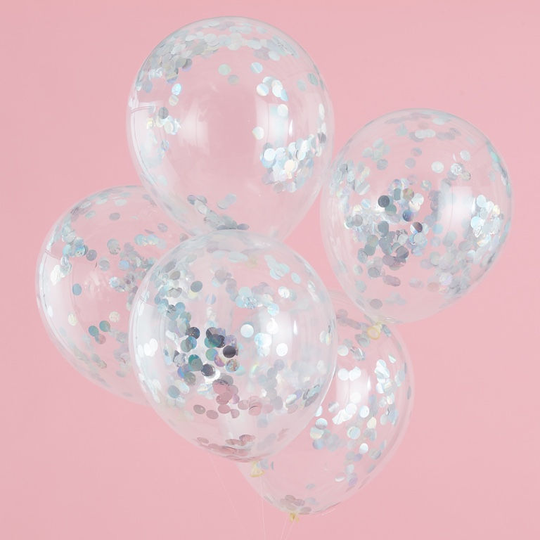Konfetové Balóny - 30 cm - Strieborná - Pastelová Párty (5ks)