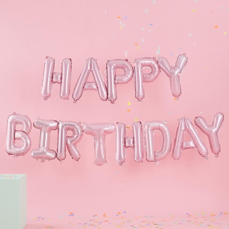 Balónová Girlanda - Happy Birthday - Matná Ružová - Pastelová Párty