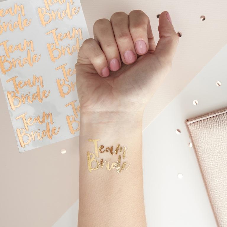 Tetovačky - Team Bride - Ružovo Zlatá (16ks)