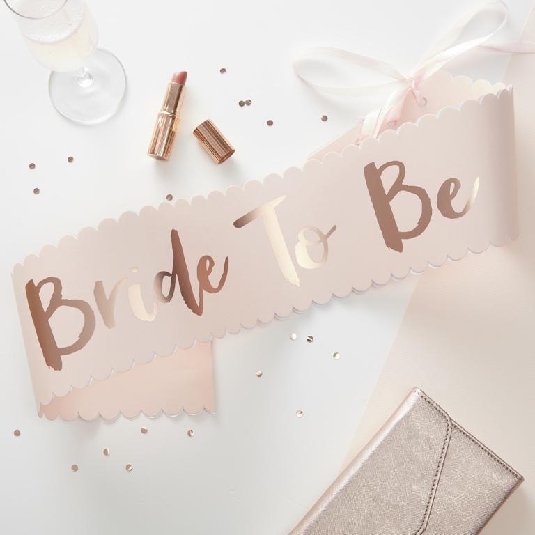 Šerpa 'Bride to Be' - Team Bride - Ružovo Zlatá