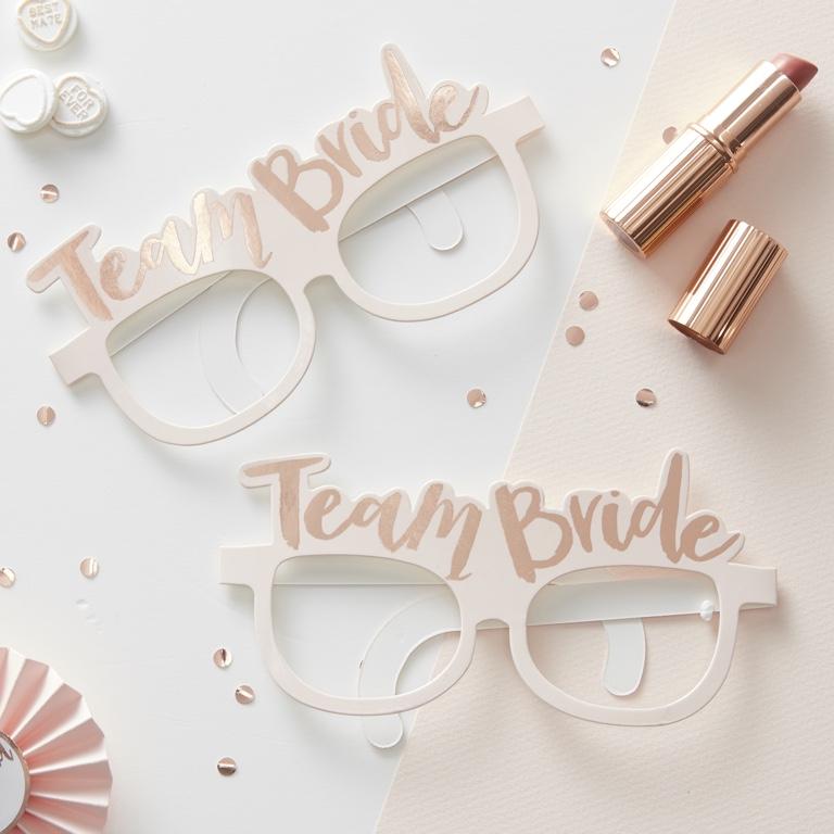 Párty Okuliare - Team Bride - Ružovo Zlatá (8ks)