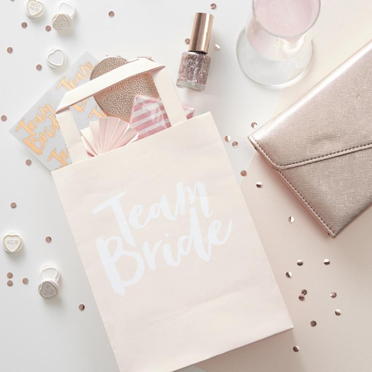Papierové Tašky s Rúčkou - Team Bride - Ružová (5ks)