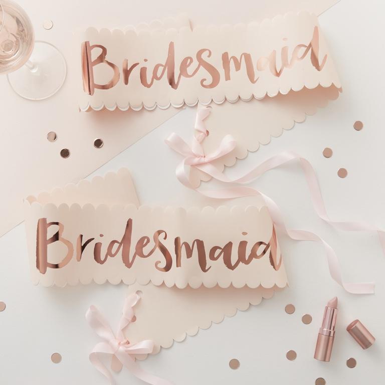 Šerpy pre Družičky Bridesmaid - Ružovo Zlatá - Team Bride (2ks)