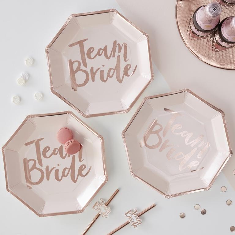 Papierové Taniere - Ružovo Zlatá - Team Bride (8ks)