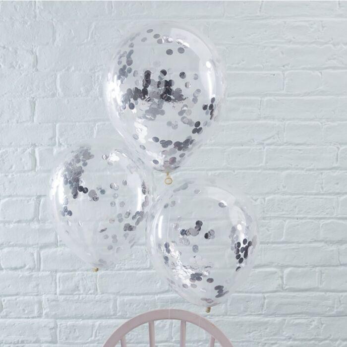 Konfetové Balóny - 30 cm - Strieborná (5ks)